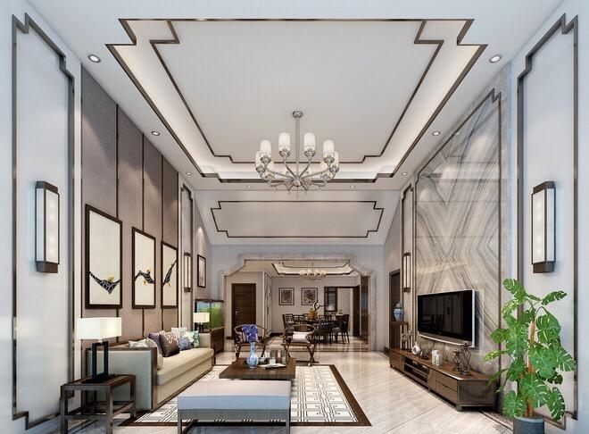新中式風格128平米三居客廳吊頂裝修效果圖
