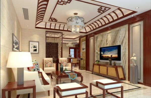 新中式風格150平米三居客廳吊頂裝修效果圖