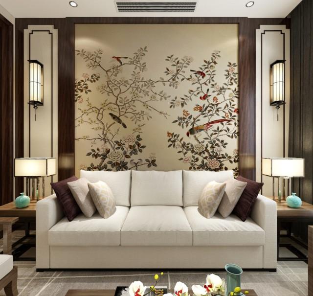 新中式風格245平米別墅客廳沙發墻面裝飾效果圖