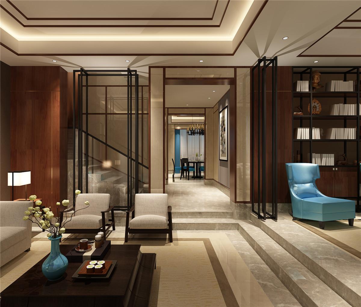 新中式風格別墅錯層客廳裝修效果圖片