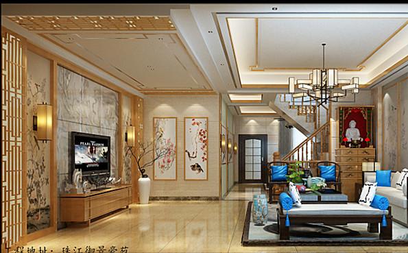 珠江御景豪苑260平米現代中式客廳裝修案例