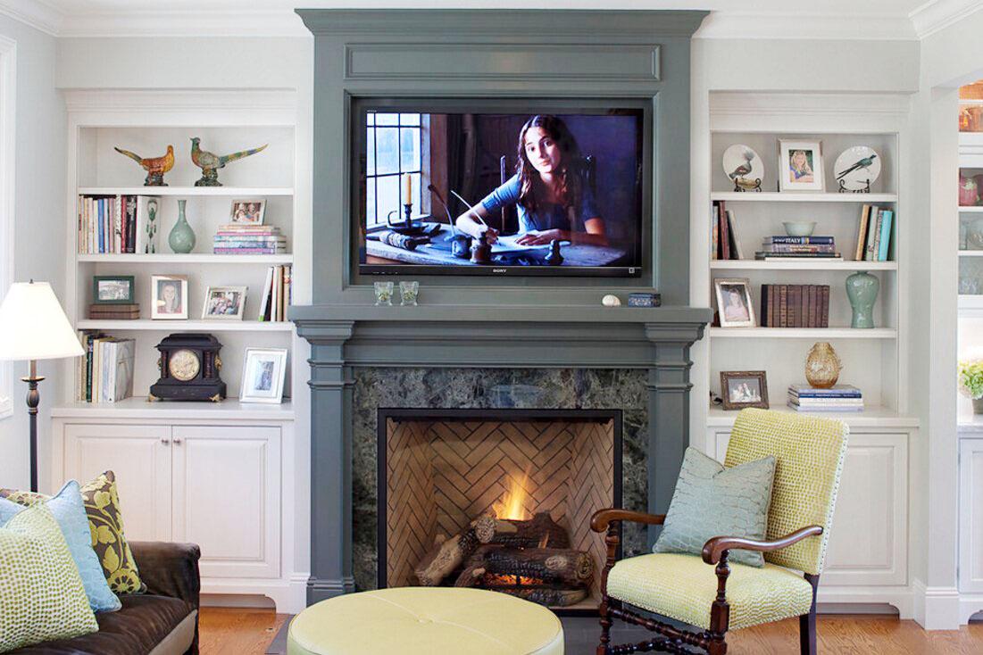 最流行壁爐做電影視背景墻效果圖