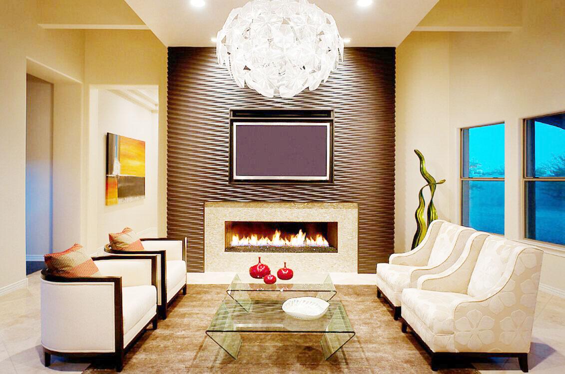 最流行家用壁爐影視墻設計效果圖片