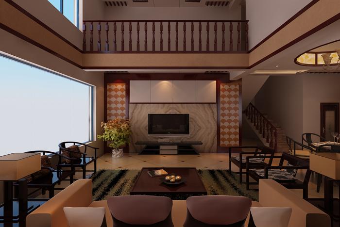 中式別墅客廳木箱茶幾裝修效果圖片