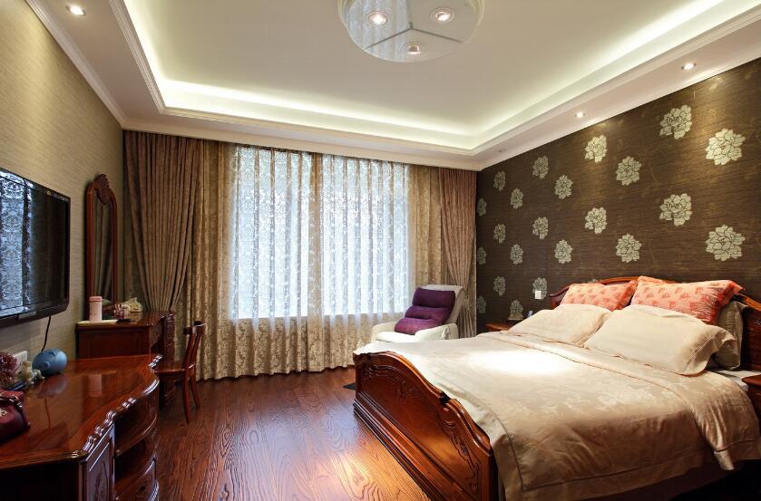 中式風格高端樣板房主臥壁紙設計效果圖