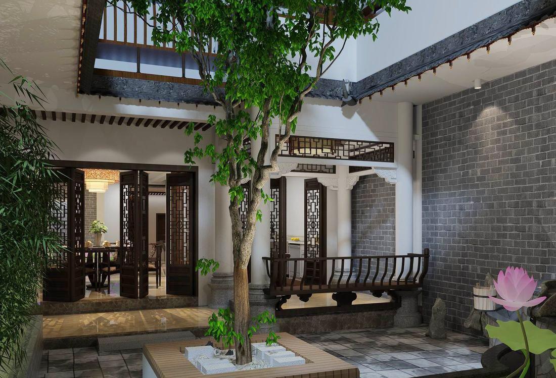 中式田園別墅庭院圍墻設計效果圖