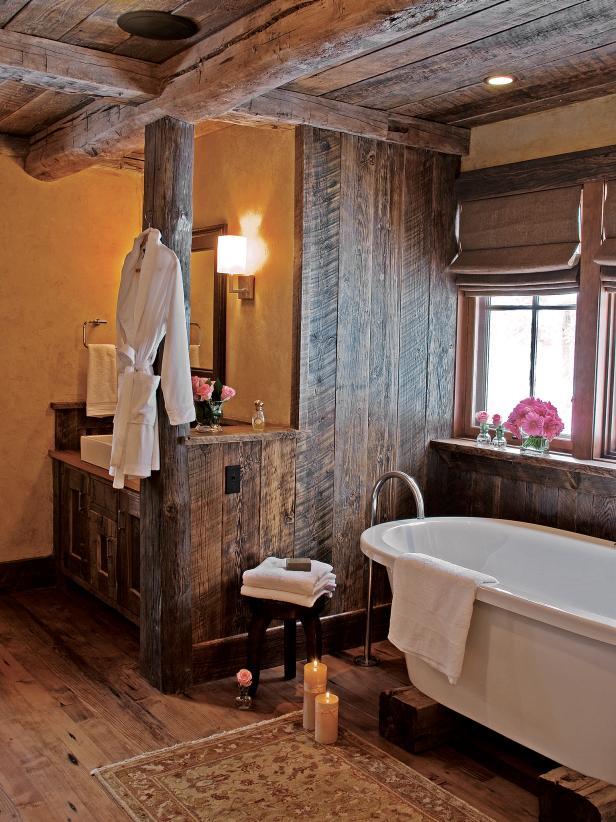 中式鄉村風格家裝衛浴間浴缸擺放圖片